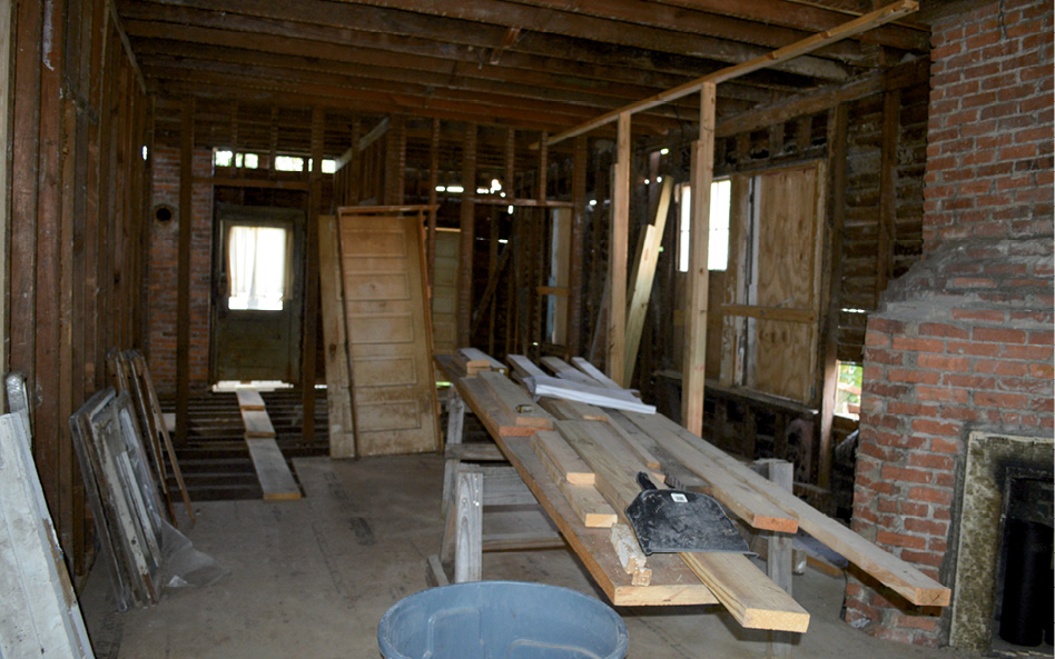 The kitchen and living area during construction