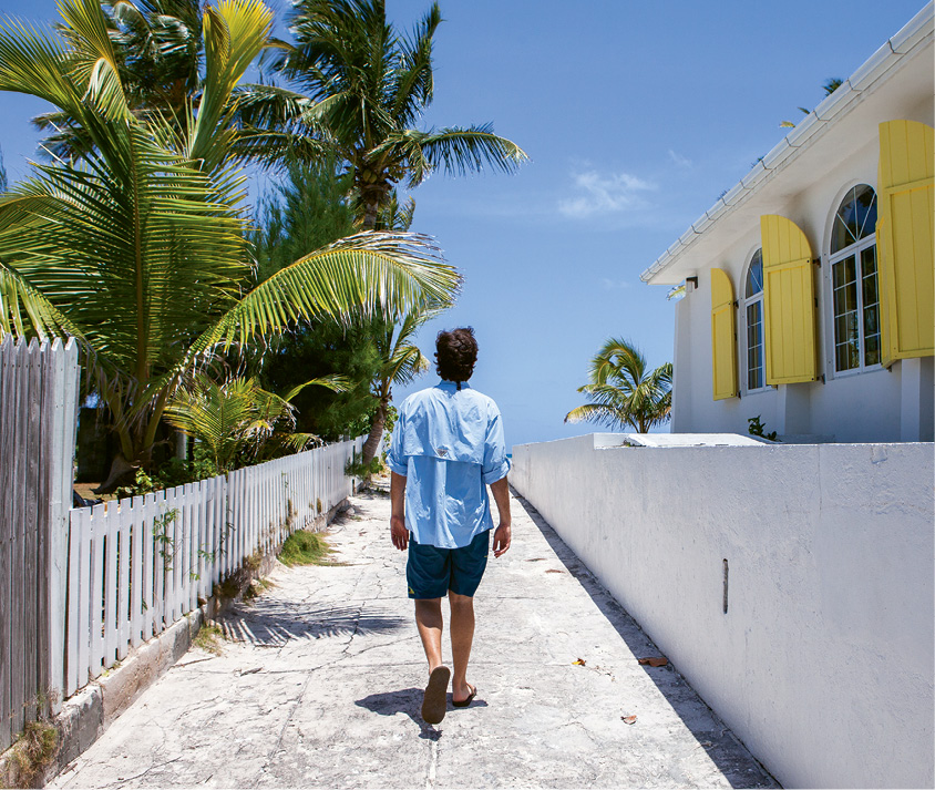 The author walks past the beachfront St. James Methodist Church