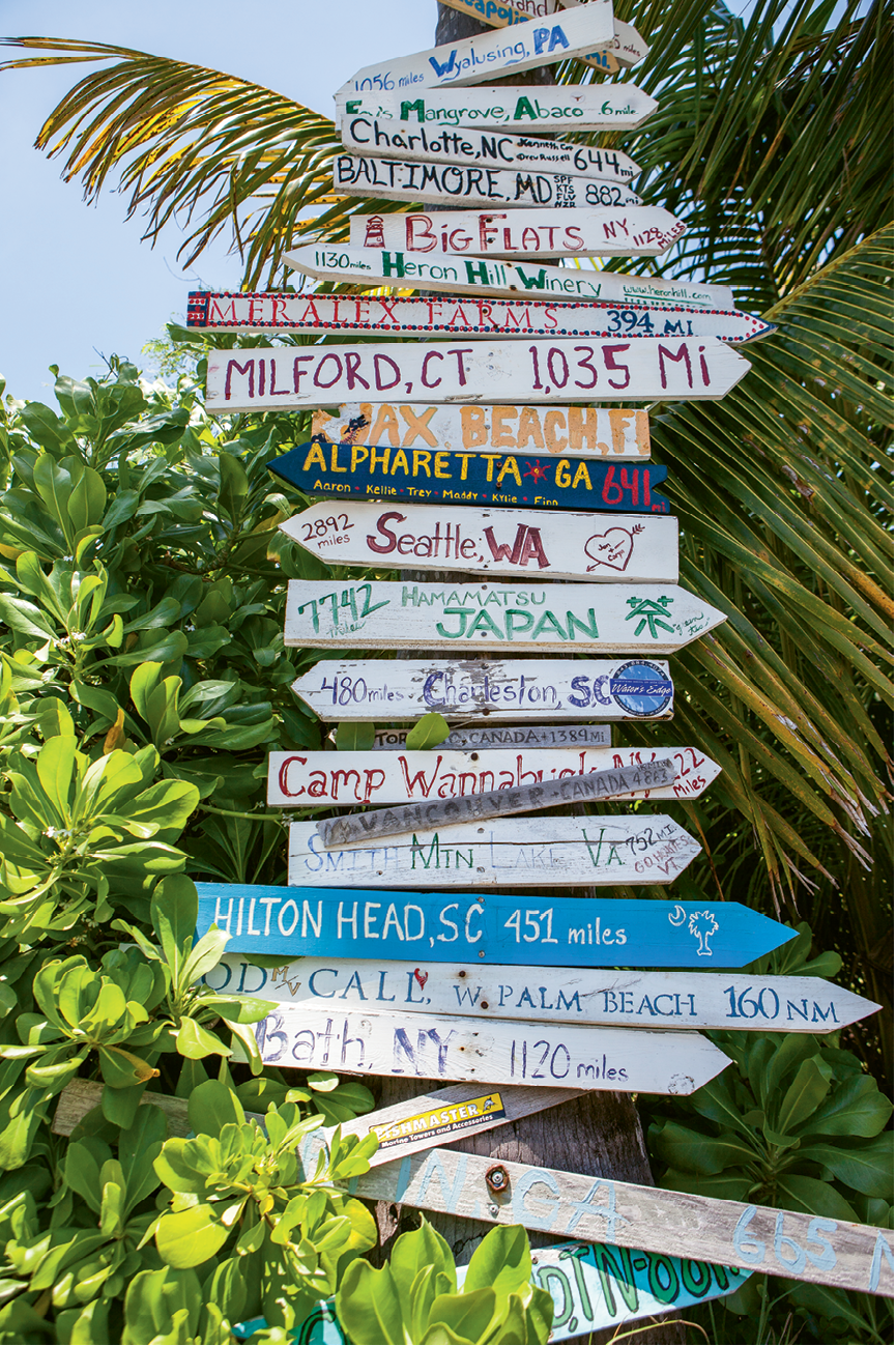 Visitors from around the world attach signs for their own hometowns to posts around the island.