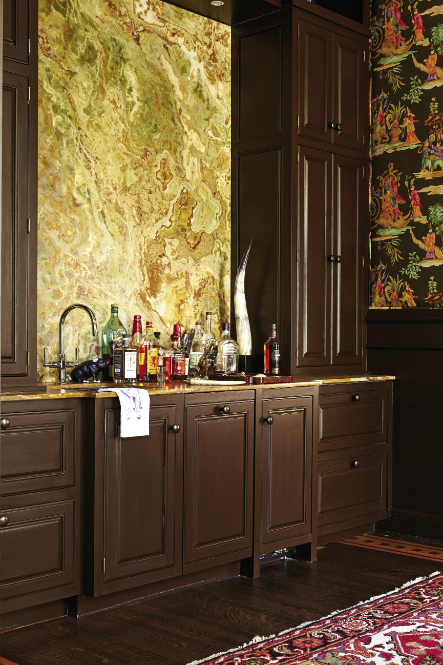 Russian onyx marble headlines the bar—formerly an anteroom.