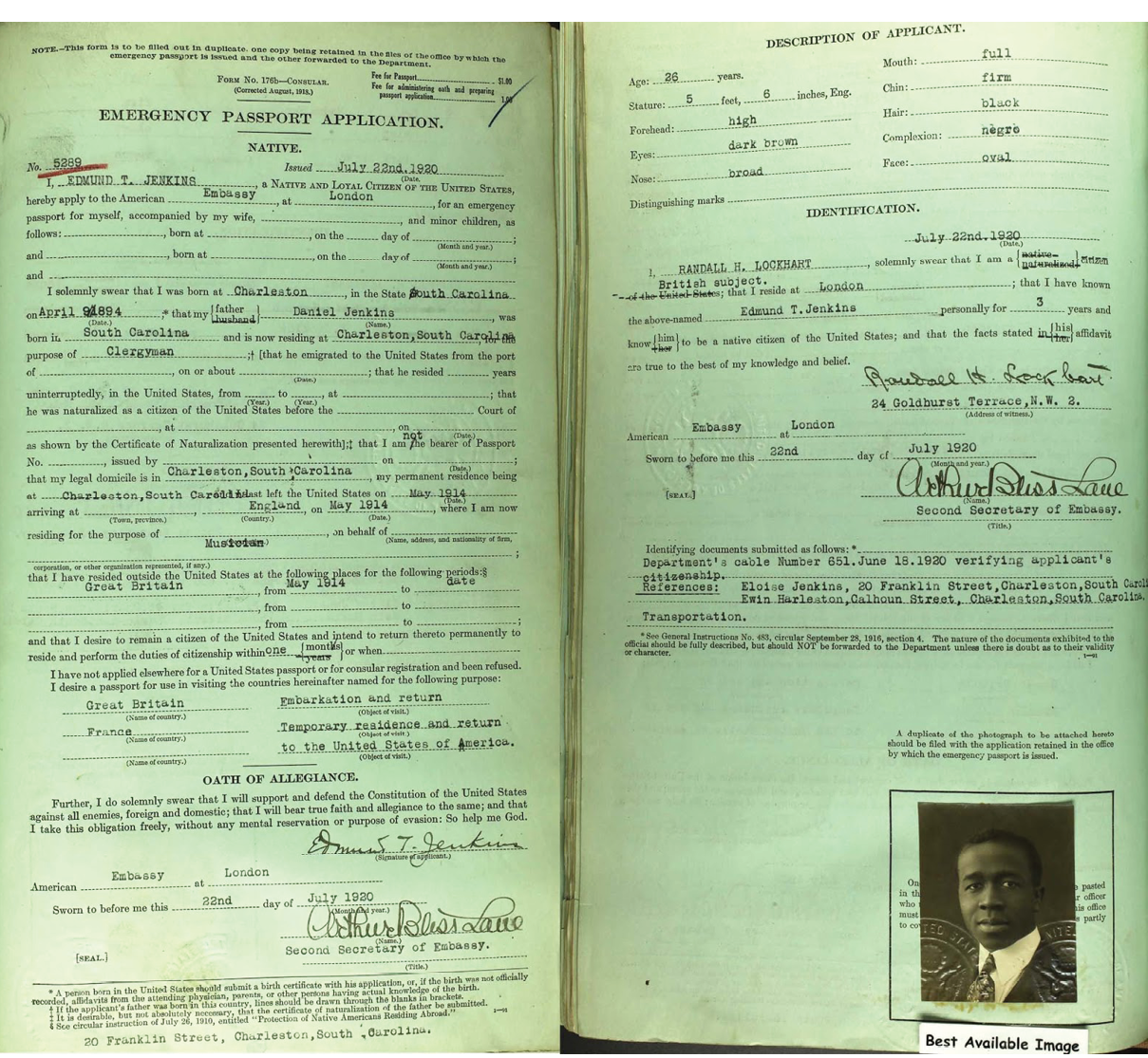 Jenkins's 1920 passport allowed him to travel to Paris