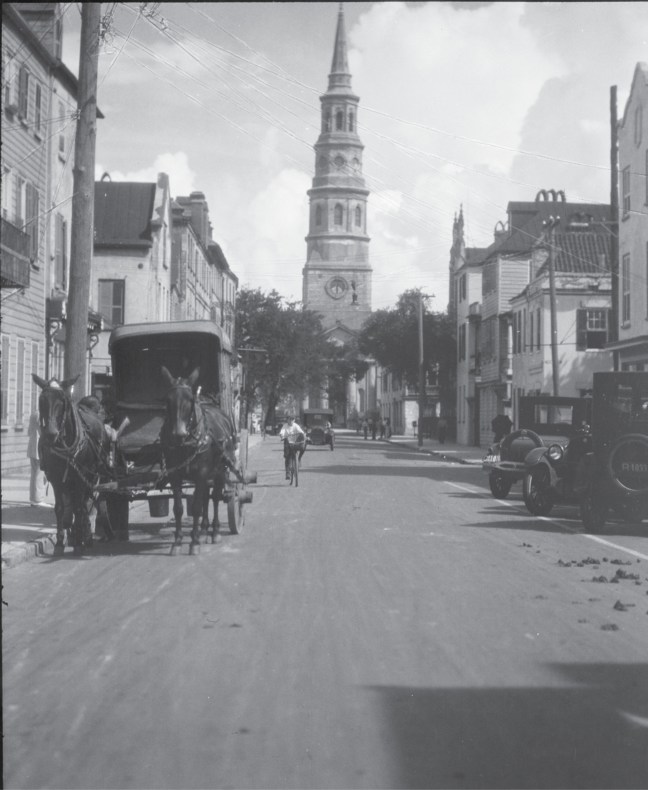 View looking north down Church Street to St. Philip's Church, circa 1920s, by German photographer Arnold Genthe