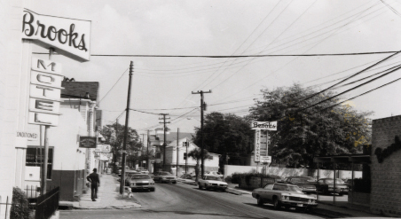 The Brooks Motel and Restaurant at the corner of Morris and Felix streets