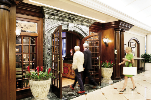 Guests enter through Belmond Charleston Place's lobby.