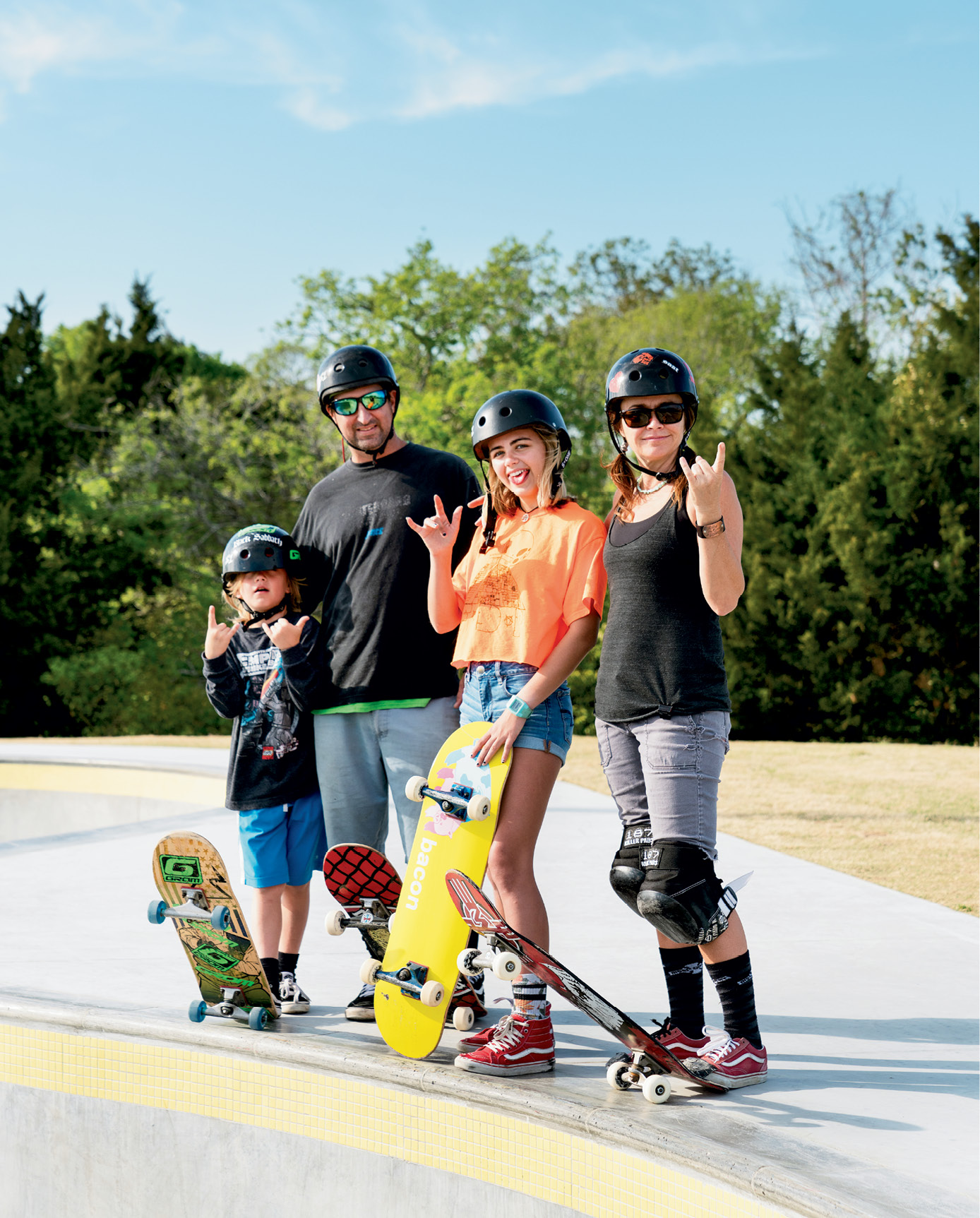 """The Smith Family: Johnny Otis, Mark, Audrey, and Shannon, a longtime skater and Pour It Now advocate; """"It was incredibly moving to see the park come alive and everyone so stoked,"""" Shannon says about opening day, """"especially knowing that it will benefit countless people of all ages in multiple ways."""""""