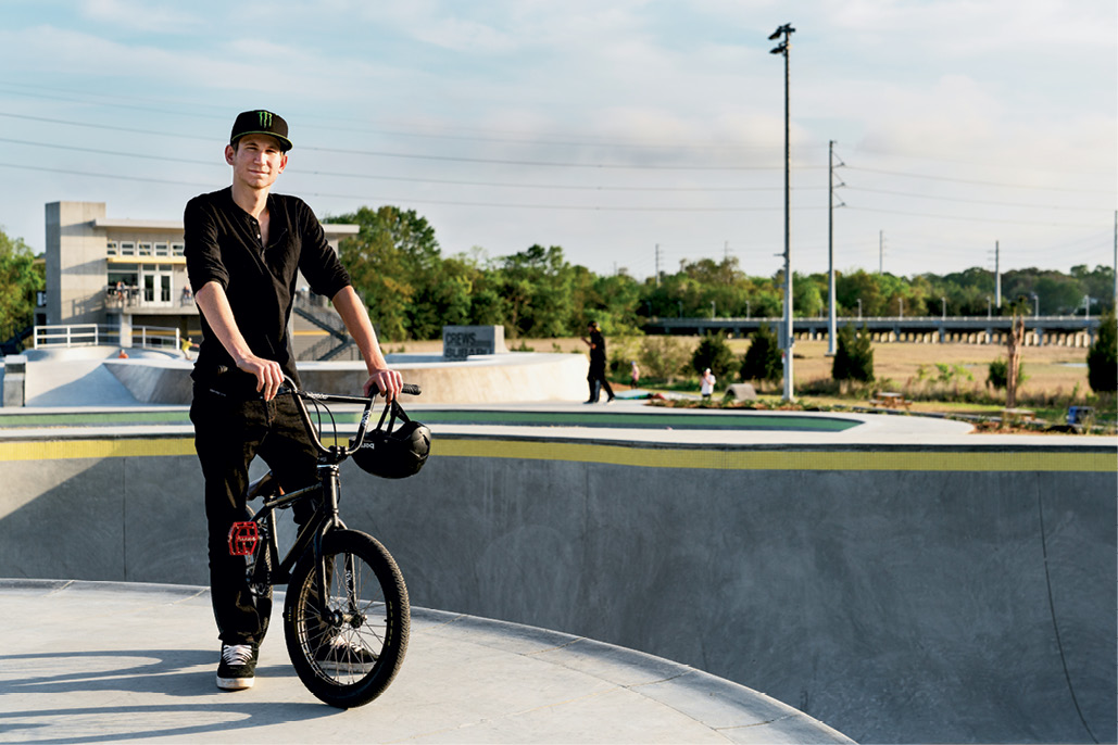 """BMX Freestyle Rider Case Taylor., who won the 2014 Monster Energy Recon Tour amateur division, rides the park most Tuesdays when it is open only to bikes, but wishes he could be out there more. """"The park is amazing, a great place for local BMX riders to ride and train,"""" he says."""