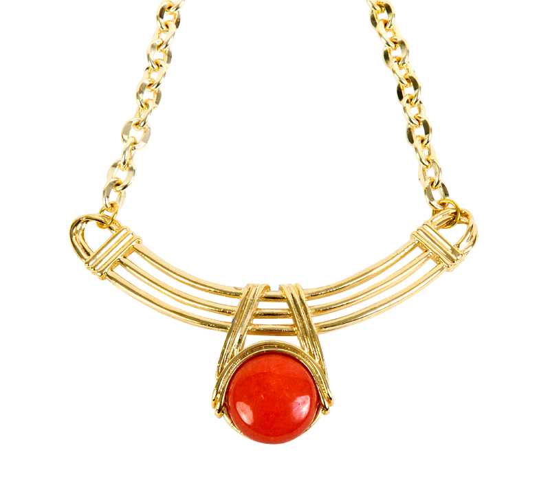 Gold plated adjustable necklace by Jessica Elliot, $85 at Luna.