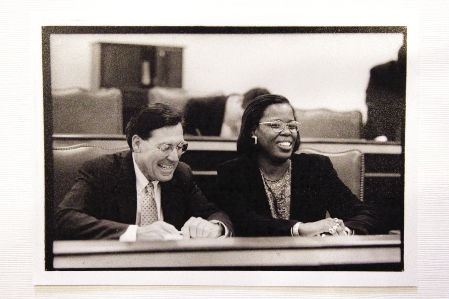 with Representative Gilda Cobb-Hunter at the meeting of the African-American History Monument Commission in Columbia. Photograph by Caroline Tan