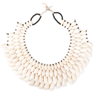 Proud Mary's cowry shell necklace, available at Proud Mary on Spring Street and Everything But Water