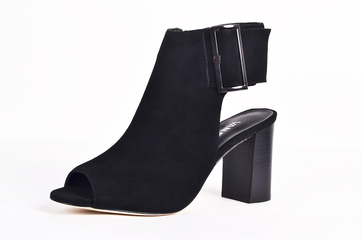 "Vaneli ""Bisa"" suede peep-toe bootie, $150 at Shoes on King"