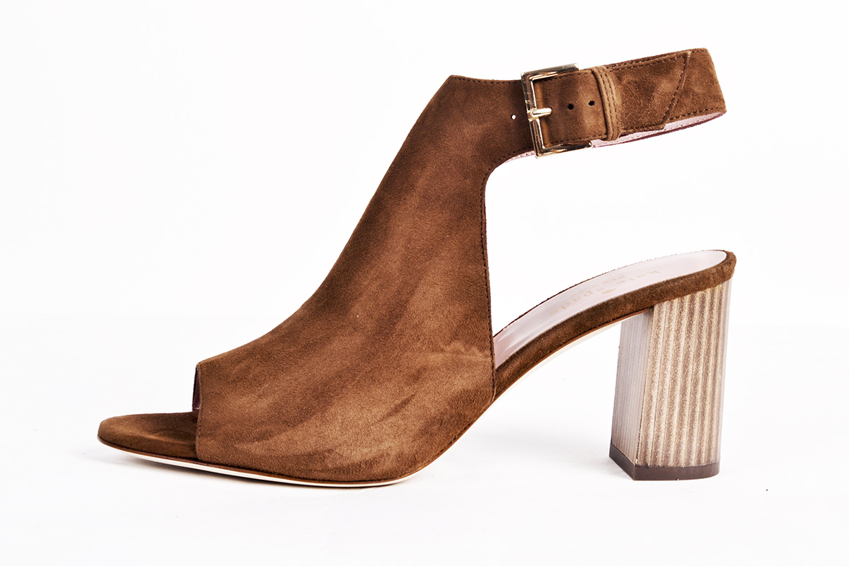 "Kate Spade ""Emina"" kid suede ""shootie"" in ""tobacco,"" $298 at Belk"
