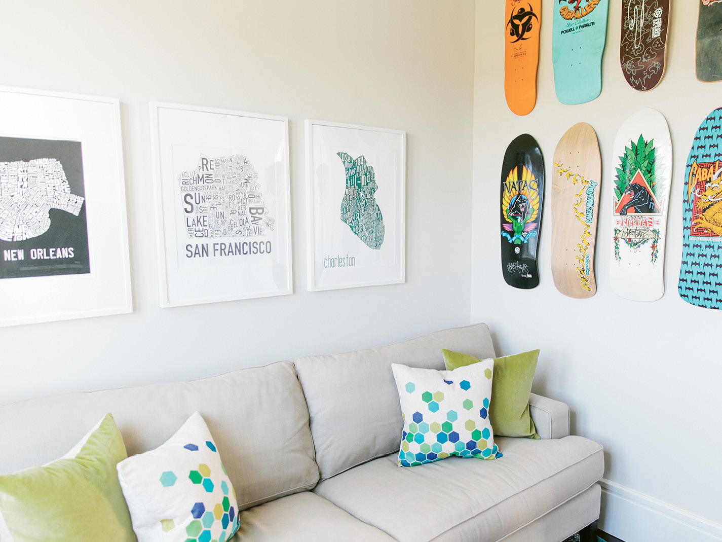 "When the twins are craving quiet time, they retreat to their second-floor bedrooms and shared TV room, where the walls are decorated with skateboards that once belonged to Melissa's brother. ""Amelia skateboards, and Cole's the intellectual of the family,"" Melissa notes."