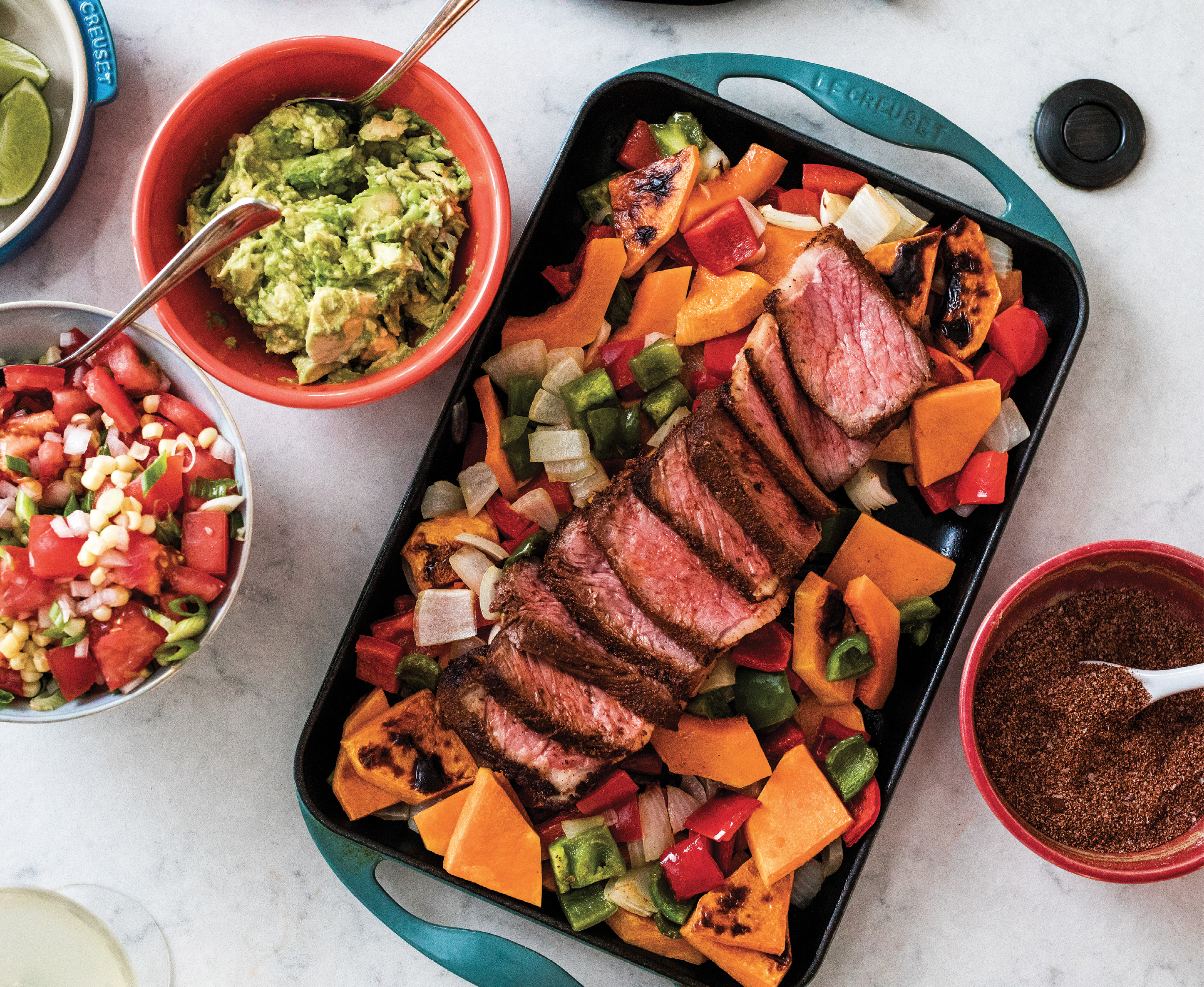 Taco night at the Raya household is a time to get creative: seasoned veggies and beef, guacamole, and pico de gallo are all fair game for filling. For a vegetarian taco, MariElena likes stuffing a tortilla with thick slices of spiced butternut squash.