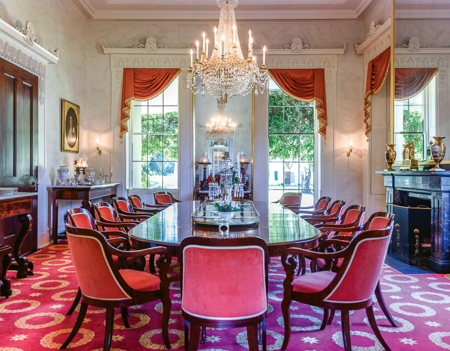 The dining room boasts Duncan Phyfe furnishings original to the home.