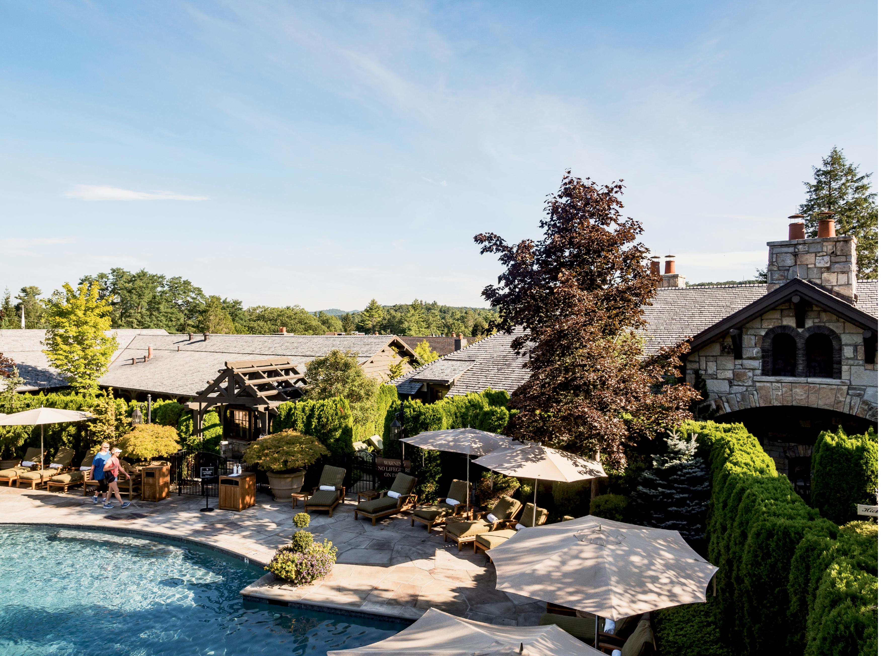The Hickory Pool, one of two heated mineral swimming pools at the inn
