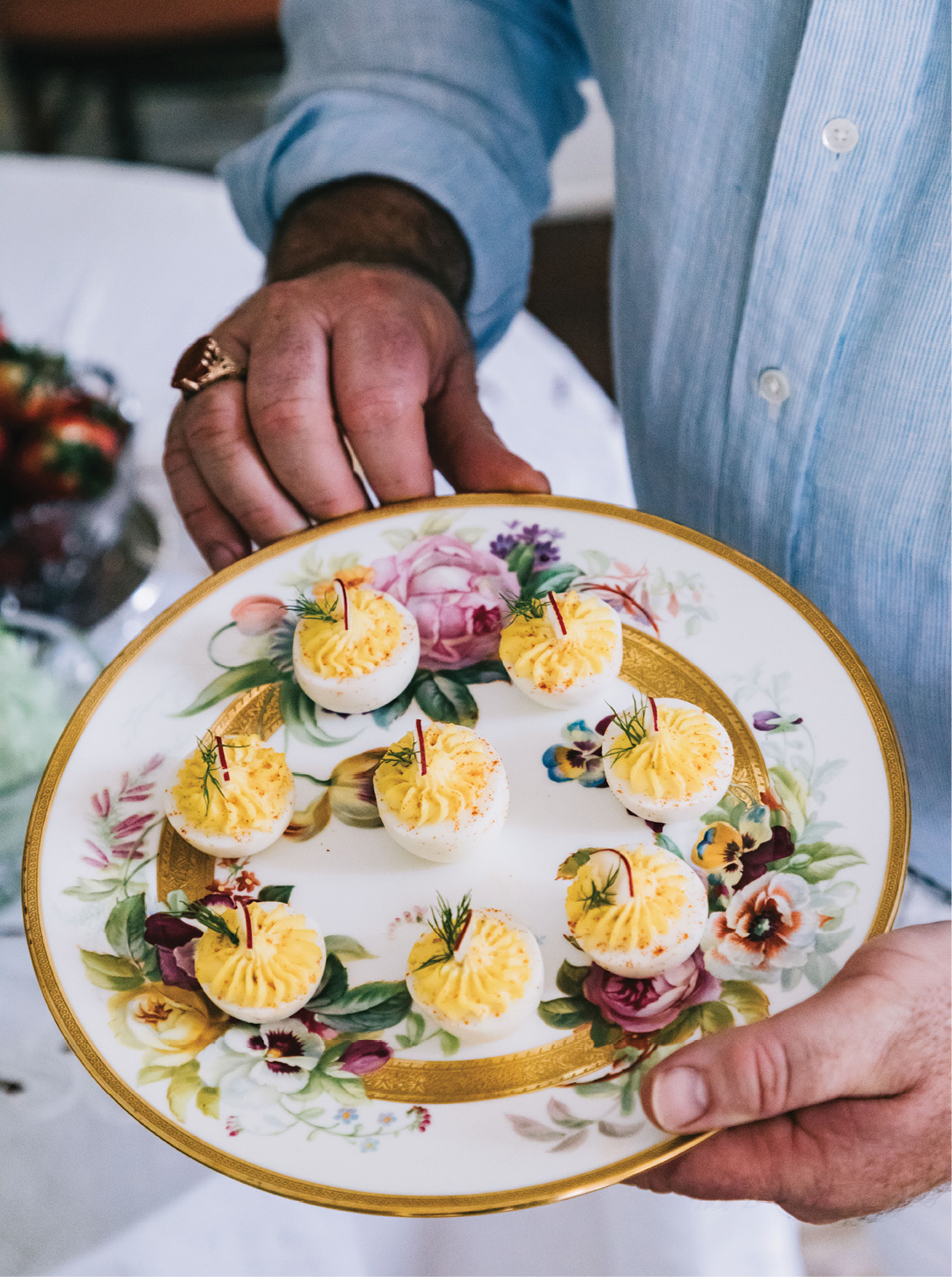 Hand-painted 19th-century English china plates are the perfect vessel for deviled eggs.