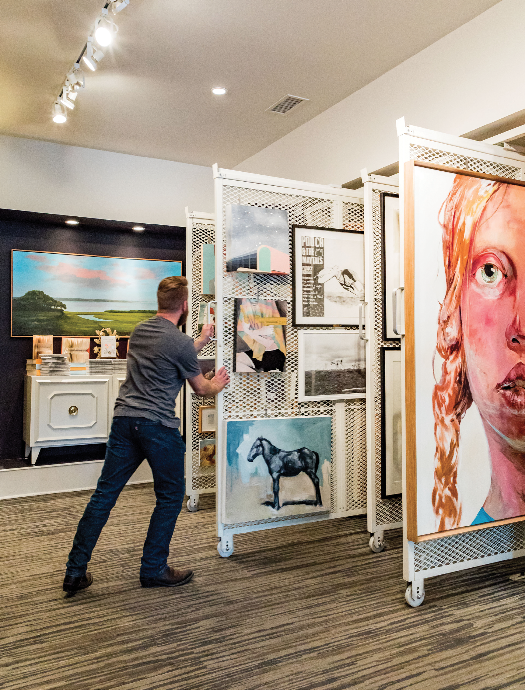 Fine art displays fill ShopSCAD, at Bull and Charlton streets downtown.