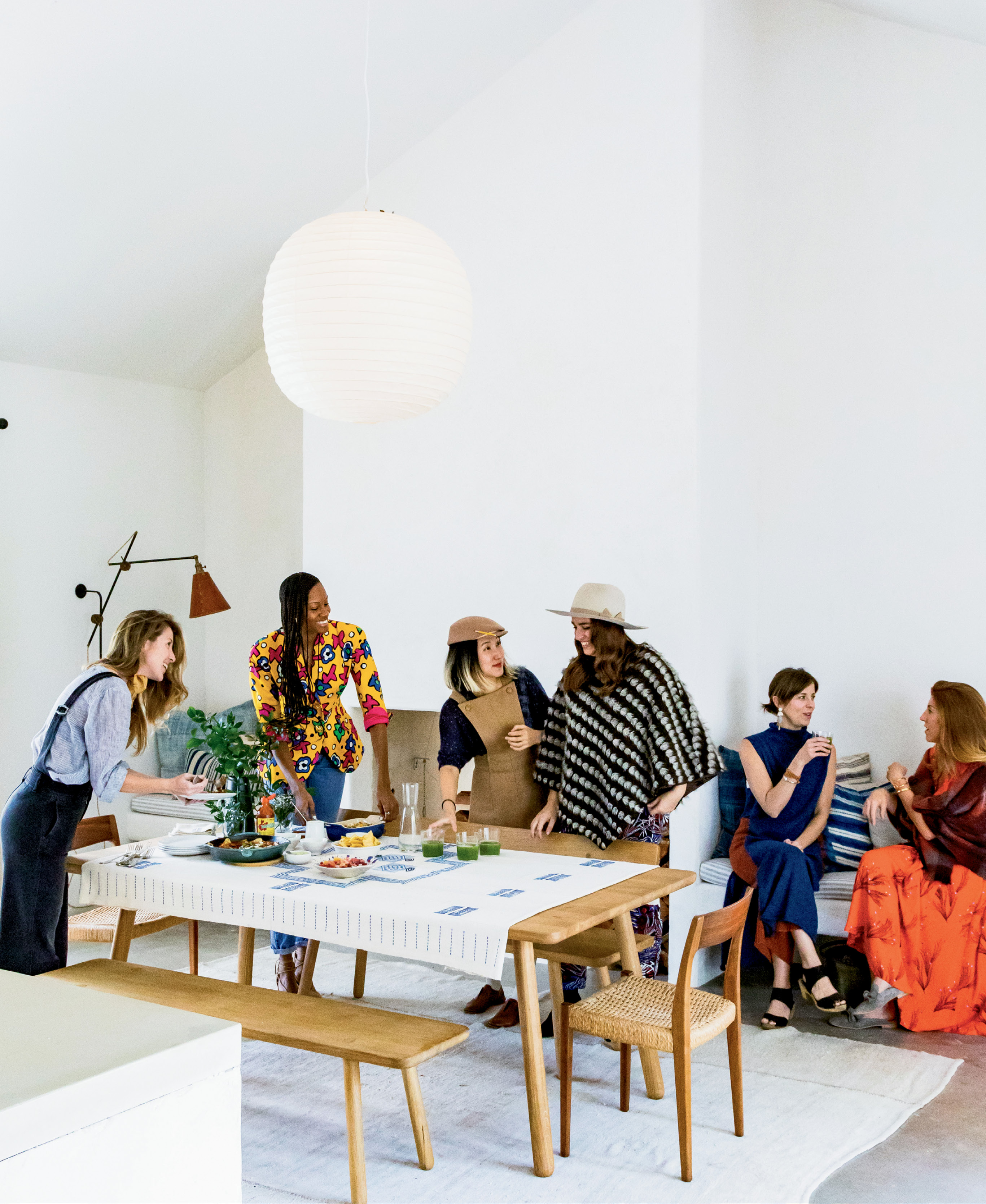 Jessica celebrates her local tribe—(from left to right) Melissa Sutton, Sabrina Hyman, Duolan Li (co-owner of Xiao Bao Biscuit and Tu), Harper Poe, and Ami Murphy—with a healthy brunch at the Sullivan's Island home of Melinda Wood (not pictured).