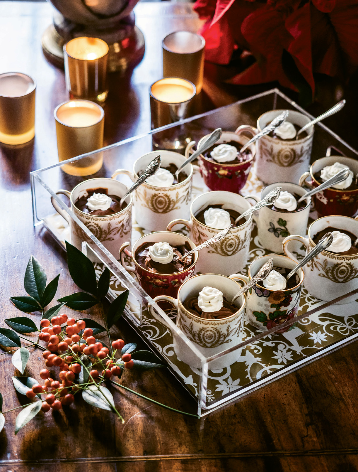 Serving chocolate pots de crème in vintage china cups makes them extra special.
