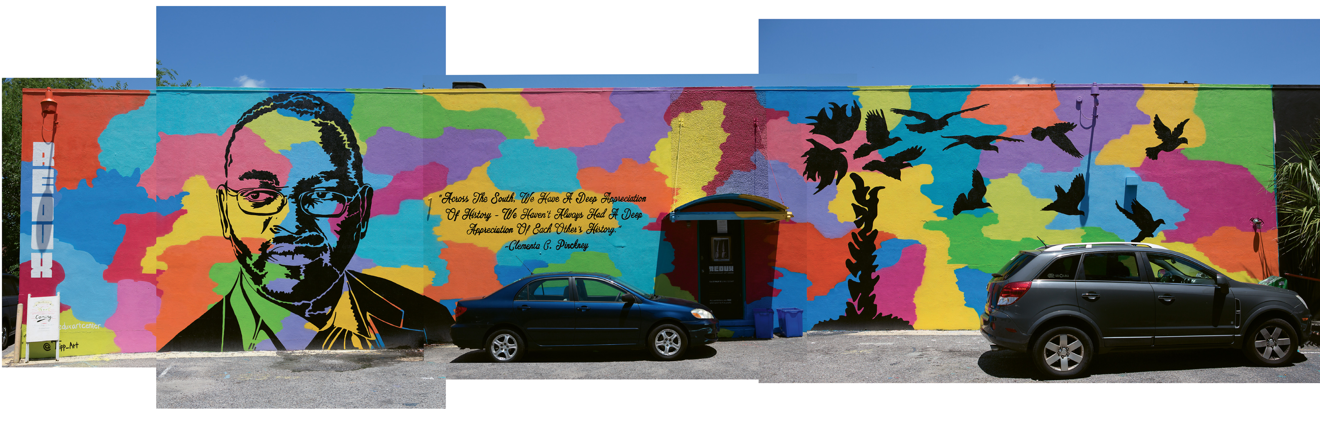 "In Remembrance  by Tripp Derrick Barnes  May 2016  Redux Contemporary Art Center (136 St. Philip St.)  Working with a team of artists, the Columbia native painted this mural in his ""PopNeoism"" style to honor the Rev. Clementa Pinckney and the Emanuel AME church parishioners killed during Bible study on June 17, 2015."