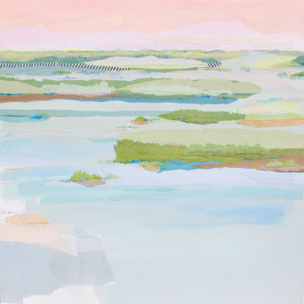 Rose Marsh by Karin Olah (2015; fabric, gouache, acrylic, pastel, and pencil on canvas,