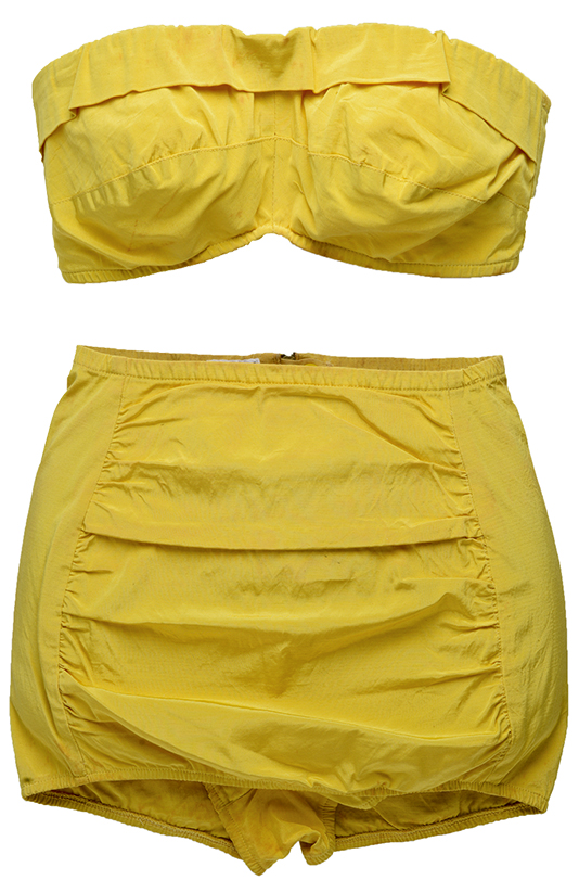1950s - Popular swimsuit label Par-Form Originals made this taffeta number at a time when strapless tops and halters ruled the beach.