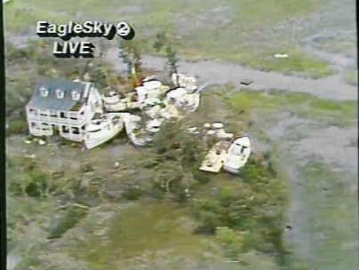 News 2 reported on the damage to the shrimping town of McClellanville, including this flotilla of trawlers and boats piled up against a house.