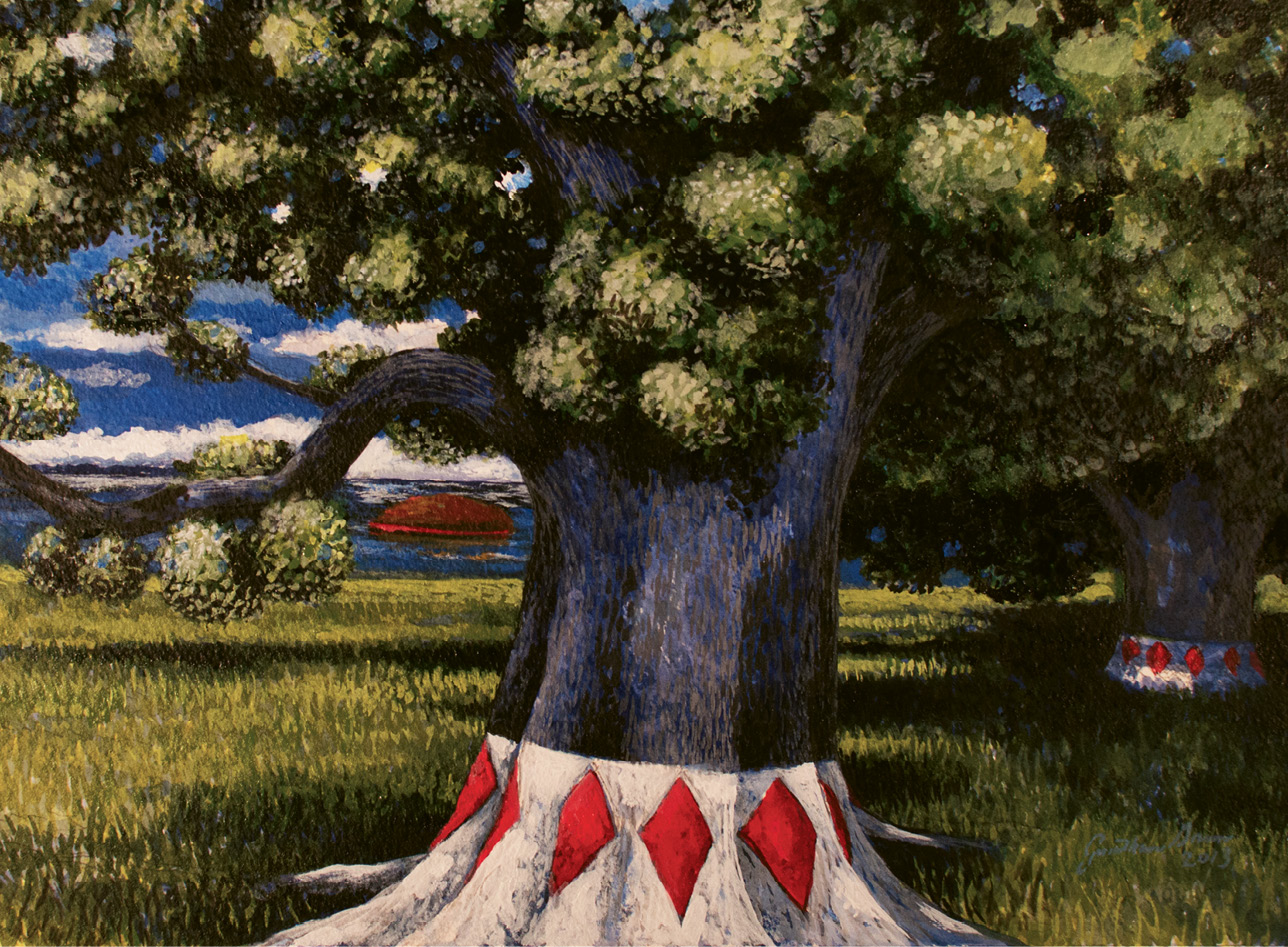 African Tree Marking (acrylic on watercolor, 11 X 14 1/2 inches, 2012)