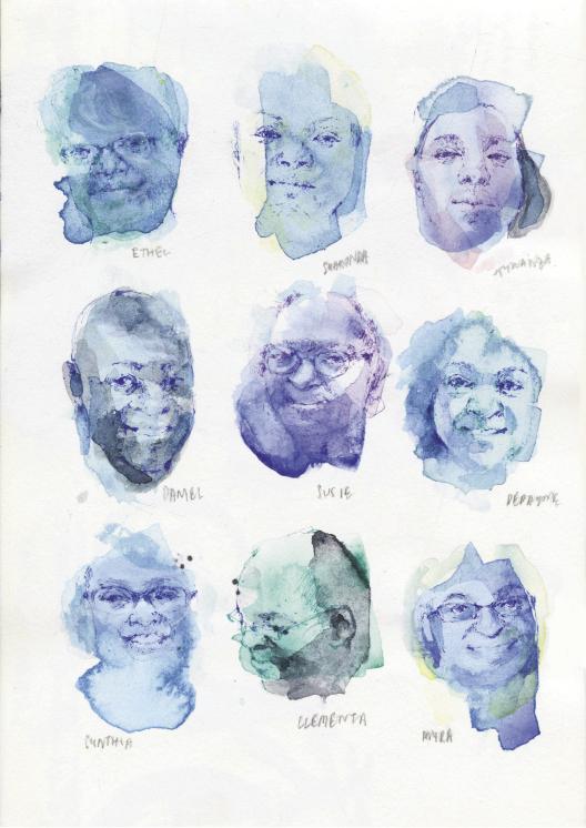 The Emanuel AME Nine: Ethel Lance, The Rev. Sharonda Coleman-Singleton, Tywanza Sanders, The Rev. Daniel Simmons Sr., Susie Jackson, DePayne Middleton-Doctor, Cynthia Hurd, The Rev. Clementa Pinckney, and Myra Thompson (watercolor by Jia Sung)
