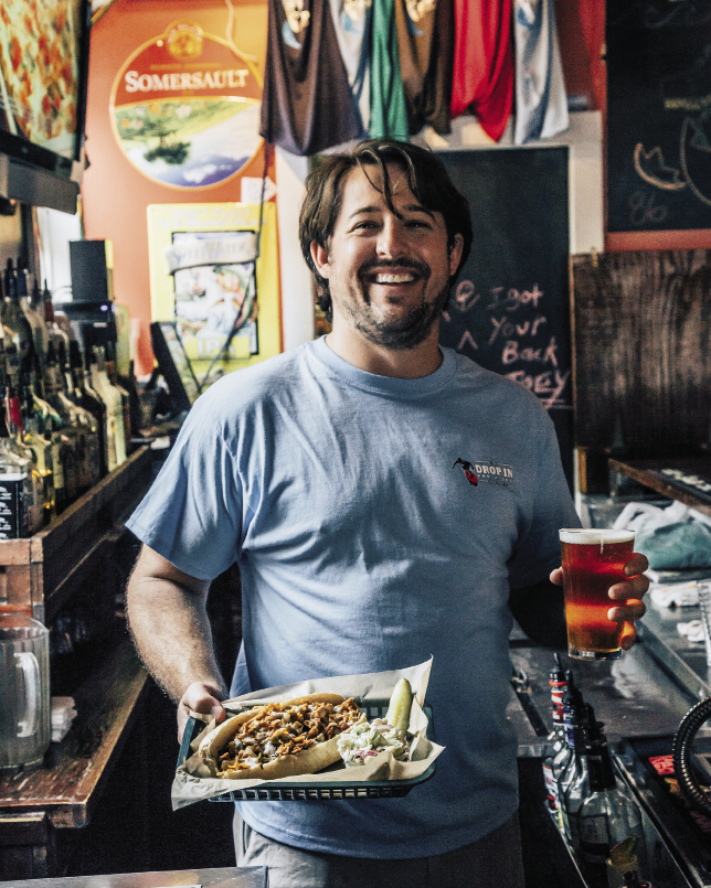 Aaron Alexander serves up The Redneck cheesesteak with a seasonal draft at this favorite watering hole.