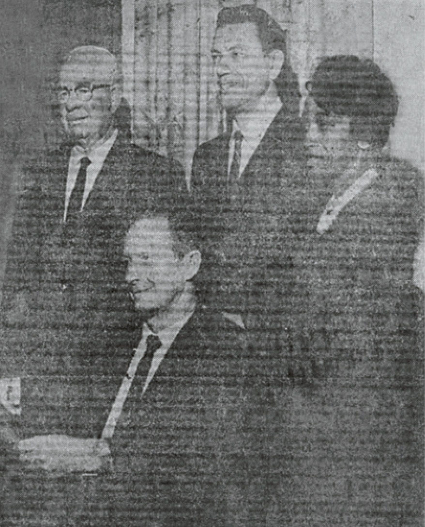 Martin-Carrington celebrating the First Methodist Centennial with Compton Mayor Chester Crain (seated) in 1968