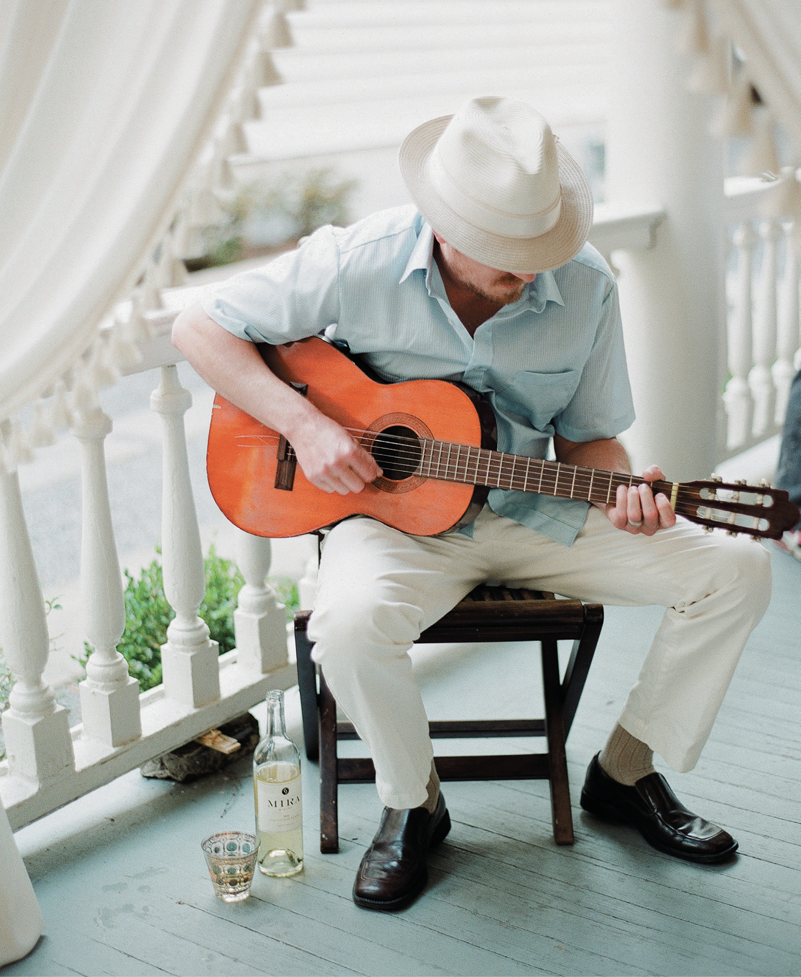 With talent in the family, Julie didn't have to rely on a digital playlist. Her musician brother, Chad Livingston, played an acoustic set during dinner. Reagan suggests situating any live entertainment about seven to 10 feet from the table so the sound doesn't overwhelm conversation.