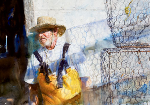"""Trap, a portrait of third-generation crabber Algernon """"Algie"""" Varn in Pin Point, Georgia, who recently had to give up his business on Moon River (watercolor on paper, 21 3/4 by 19 1/4 inches, 2008)"""