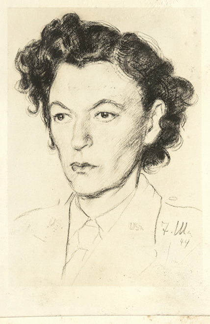 Another guard, Tony May in Stalag VI at Flamersheim, drew her likeness and gifted it to her in October 1944; She would incorporate the image into her Christmas card the following year.