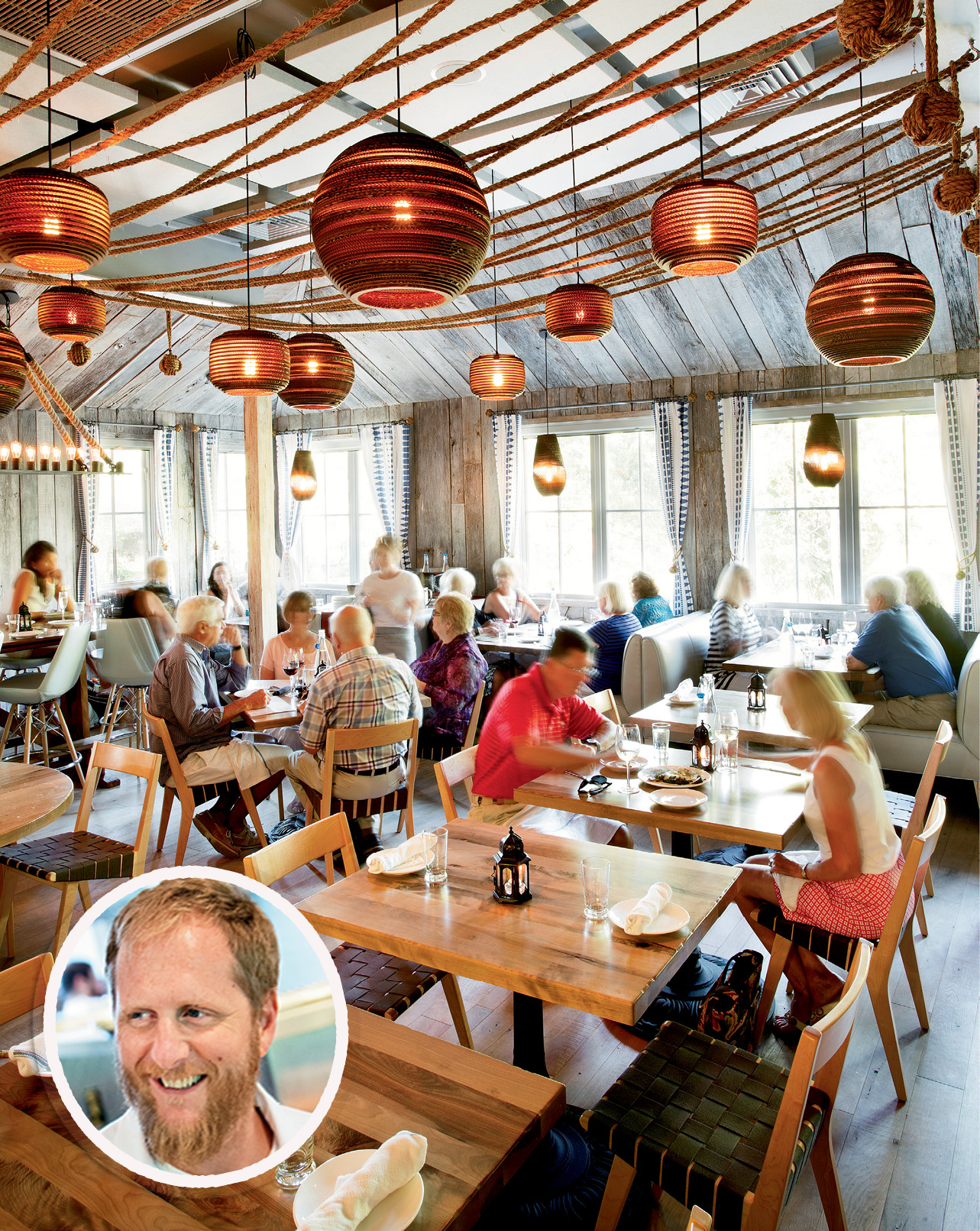 OFF THE PENINSULA: The Obstinate Daughter, where executive chef Jacques Larson (inset) and team serve up Mediterranean-Lowcountry dishes
