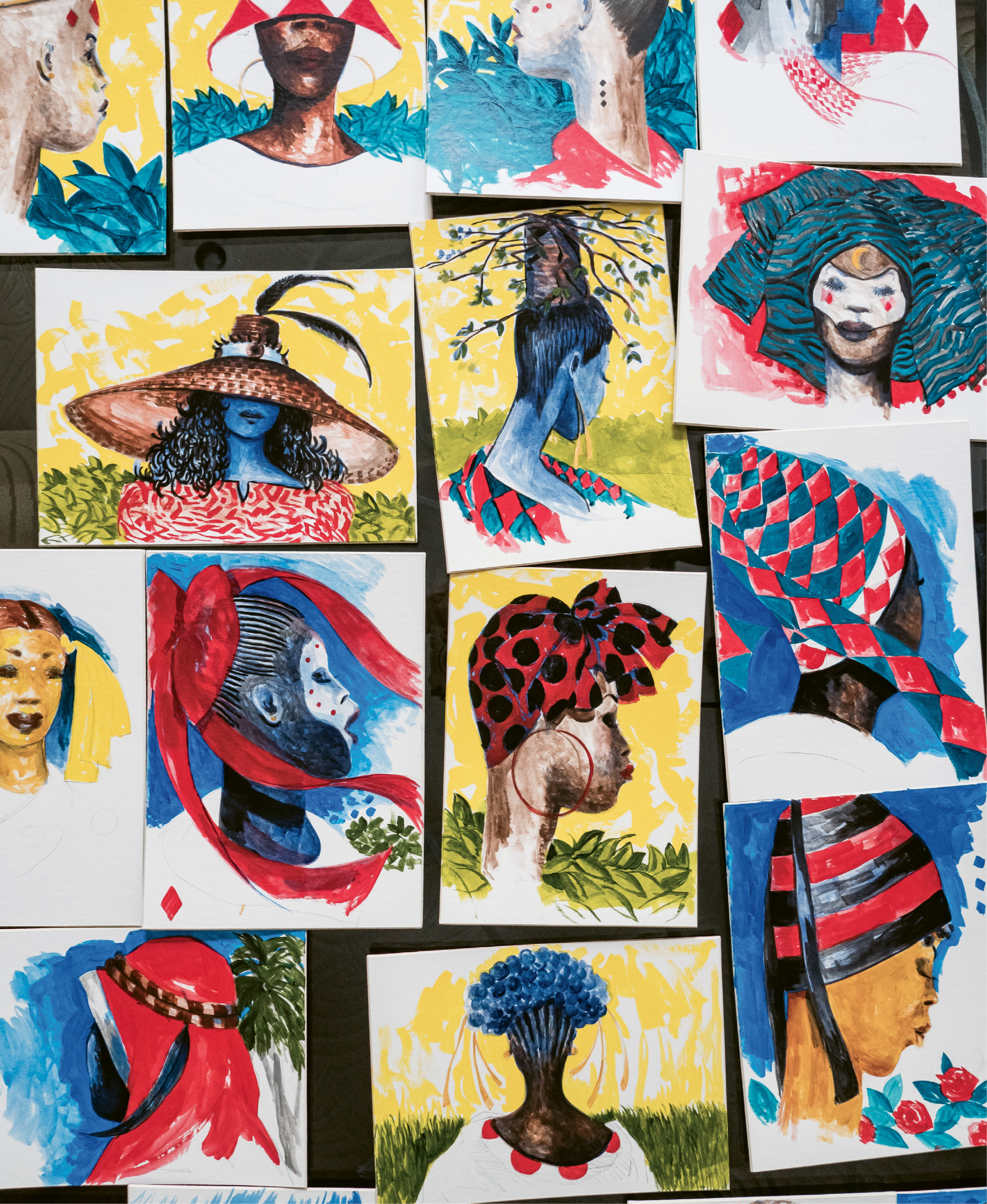 """As the visual designer for Spoleto Festival USA's production of Porgy and Bess, he developed the looks for the characters, first by loosely sketching his ideas in acrylic on cardboard, visualizing, as he says, """"how they dress, as people of their culture, displaying their Africanness."""""""