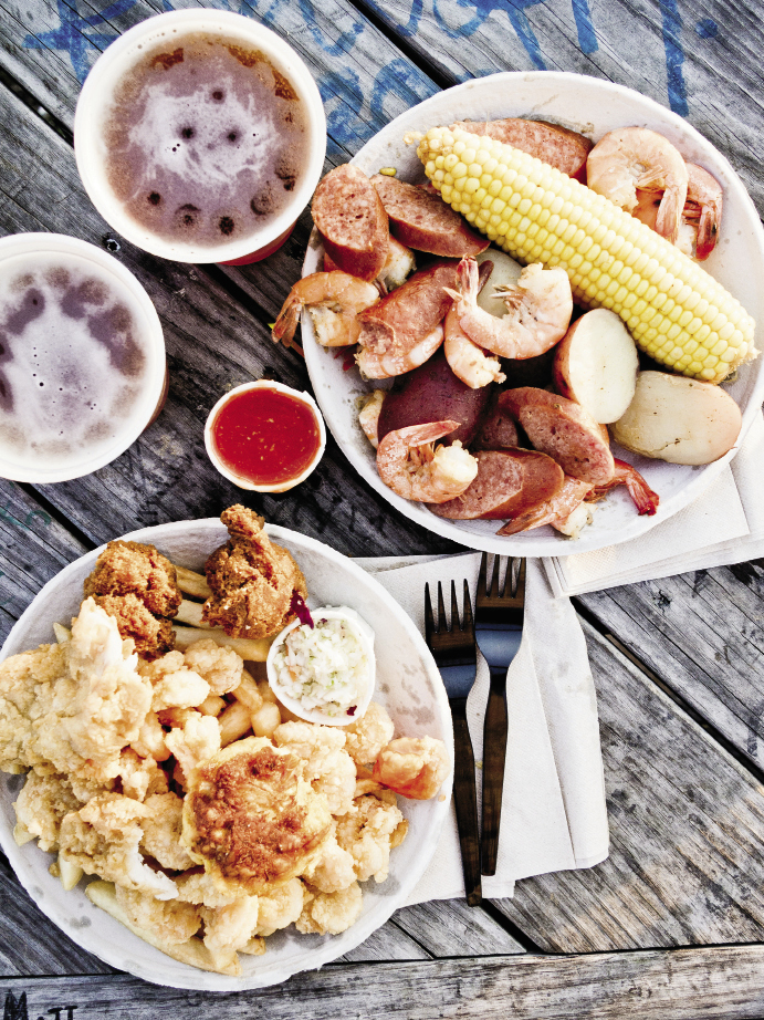 Although technically not on Folly, Bowens Island is a must for fresh-off-the-boat seafood, such as Frogmore stew or fried fish and shrimp. Bowens Island Restaurant 1870 Bowens Island Rd. Tuesday-Saturday:  5 p.m.-10 p.m.  (843) 795-2757 bowensislandrestaurant.com