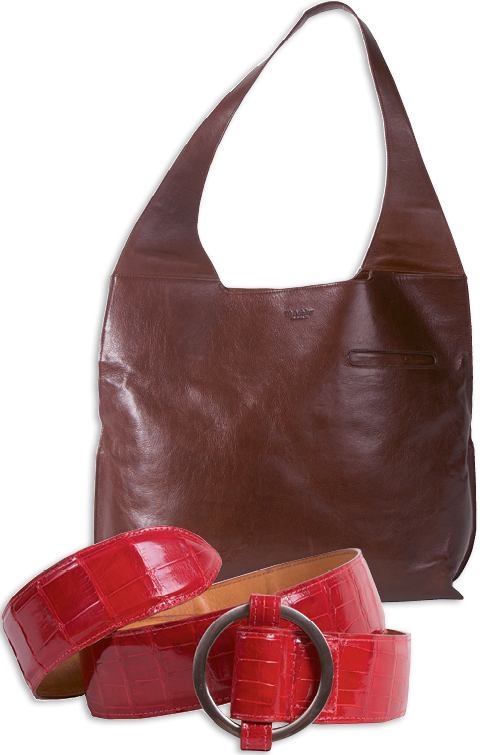 "The vachetta leather ""Lizzie Hobo"" ($995) and a women's alligator belt ($995)"