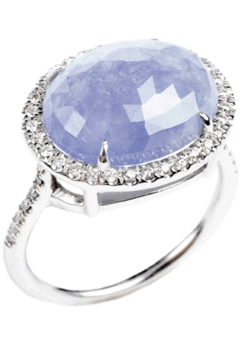 BABY BLUE: 18K white gold ring with 8.71 ct.  sapphire and accent diamonds (.23 total ct.) Croghan's Jewel Box, $2,800