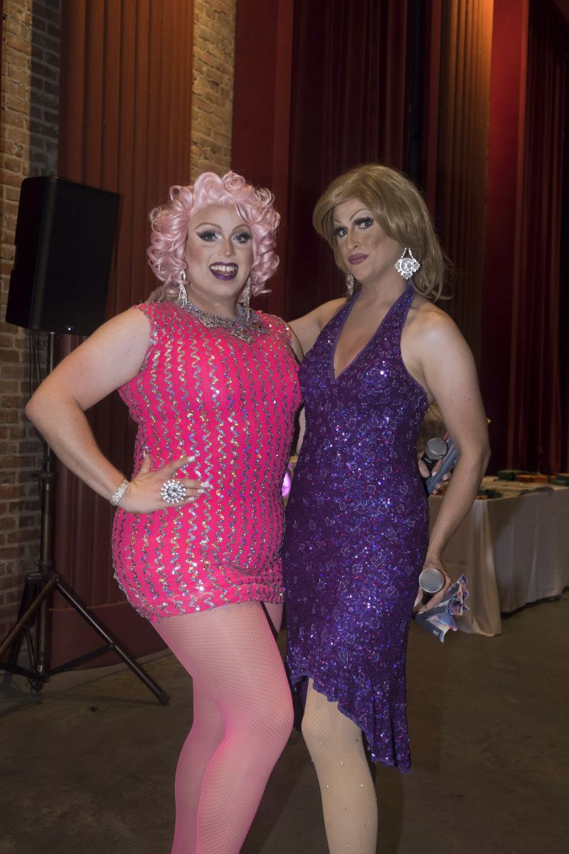 "Kylee Lovlee and Shariese Ses Pieces served as the night's ""Bingo Verifying Divas"""