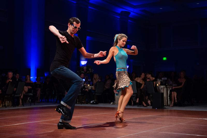 Professional dancer Maksym Sidak gets down on the dance floor with his partner Reagan Ferguson. ​​