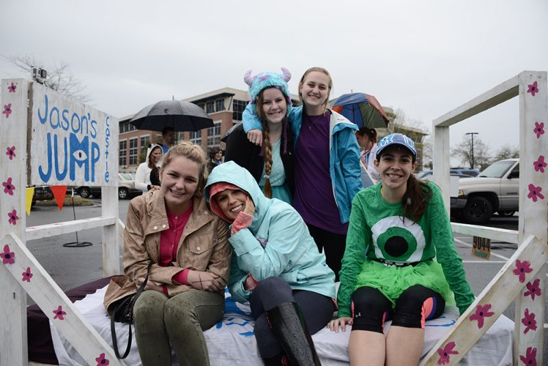 Temperance Russell, Jacqueline Disabatino, Lori Pimental, Brooke Swetenburg, and Katie Skelly showed off their Monster-themed bed.