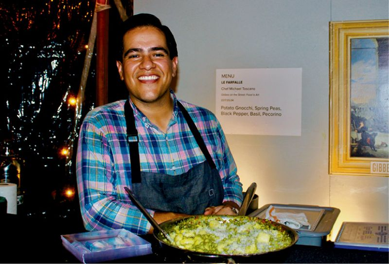 Chef Michael Toscano of Le Farfalle served up potato gnocchi  with spring peas, black pepper, basil, and pecorino cheese.