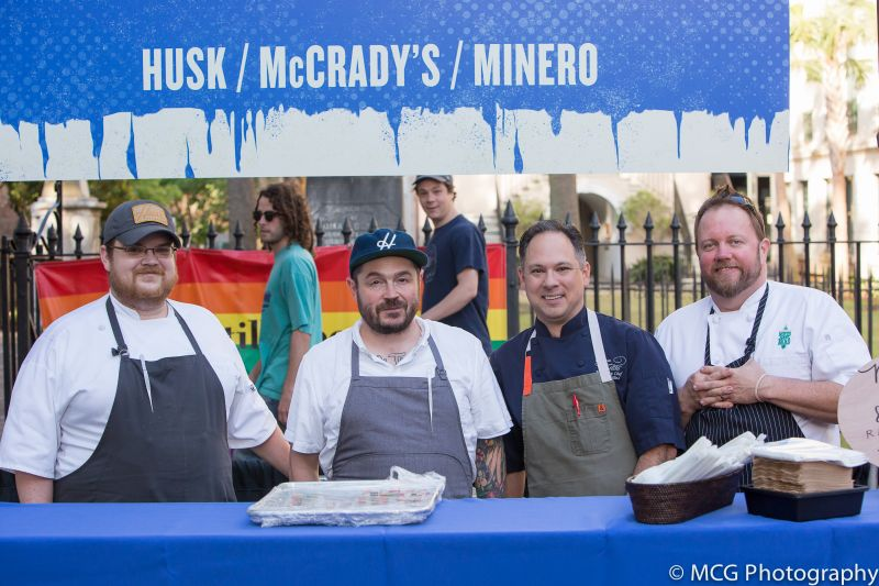 A member of the Husk team with chefs Sean Brock, Marc Collins of Circa 1886, and Russ Moore of SNOB
