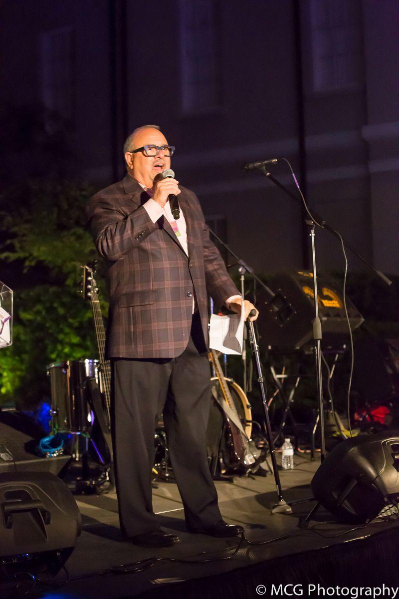 Mickey Bakst addresses partygoers