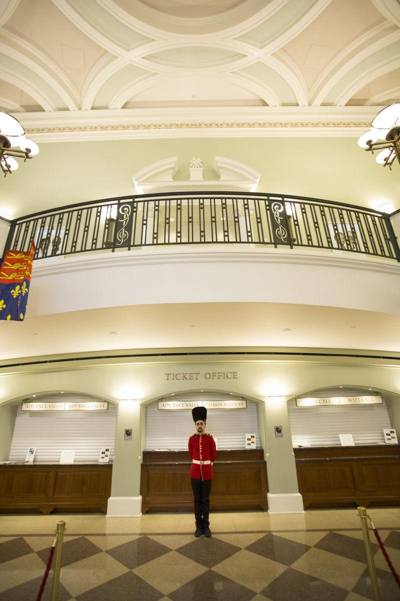 "A member of the ""Queen's Guard"" mans his post in the Gaillard lobby."