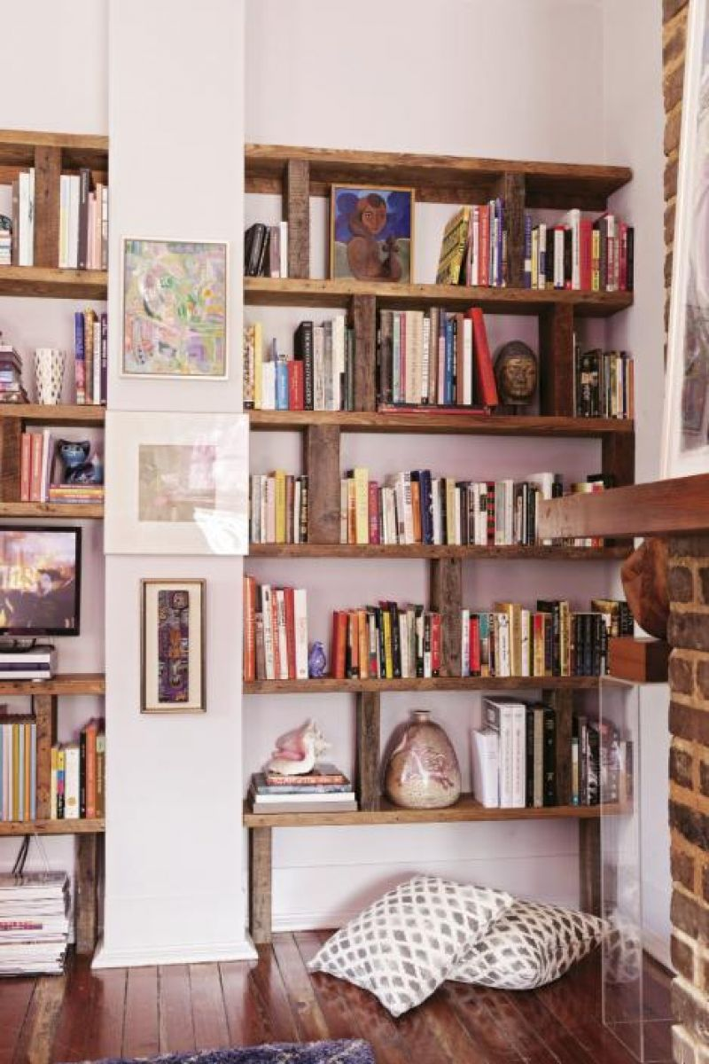 In the living room, modular bookcases were built by local artisan Capers Cauthen.