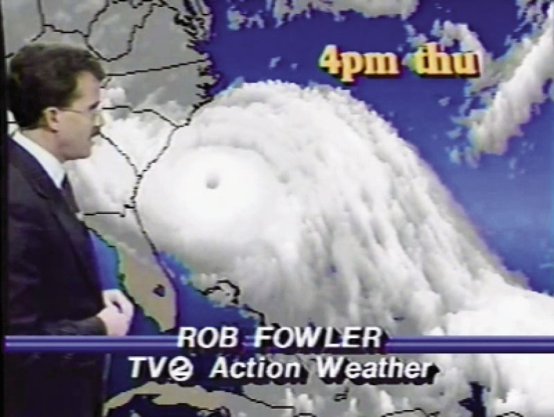 Channel 2 meteorologist Rob Fowler gave hourly updates on the progress of the storm, including this report the afternoon of Thursday, September 21, 1989, just hours before Hugo made landfall. Fowler described hurricane-force winds extending 140 miles out from the center.