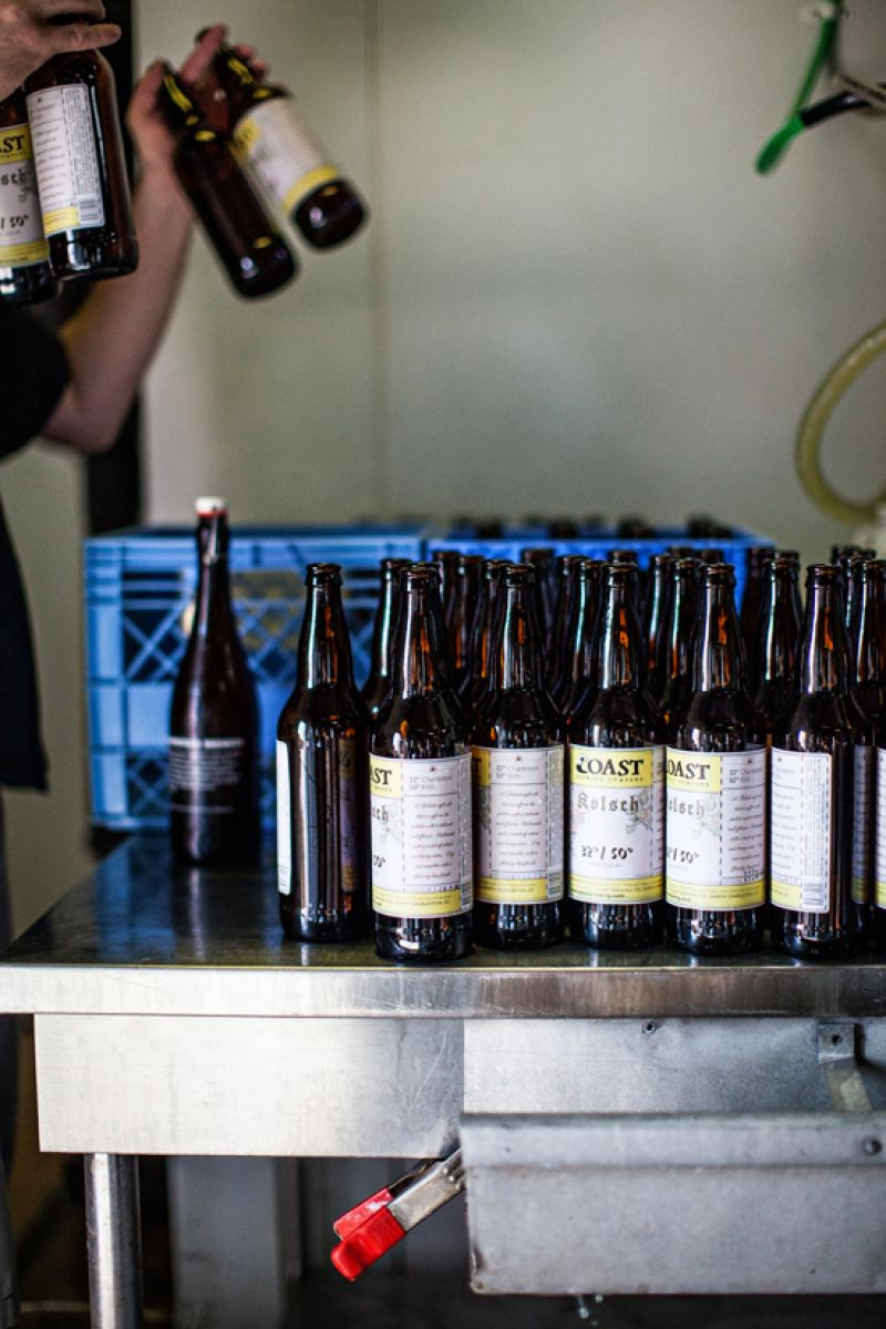 32/50 Kolsch bottles ready to be filled