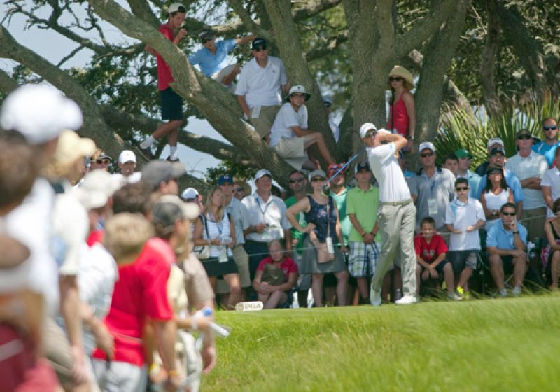 Big crowds surrounded the greens and tees on the front nine.